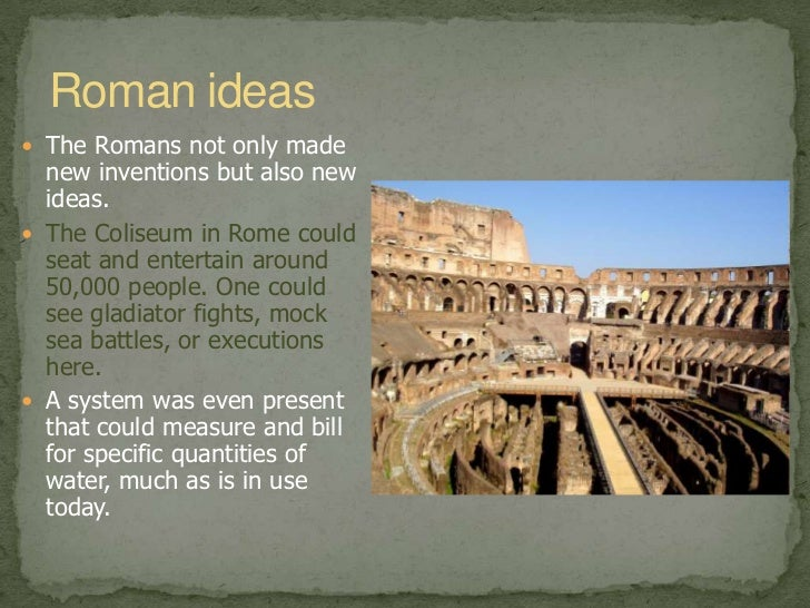 roman achievements Get an answer for 'what were the major achievements of the roman empire' and find homework help for other roman empire questions at enotes.