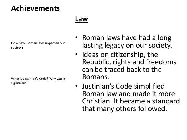 Roman Lesson 4 Achievements Part 2 – Justinian Code Worksheet