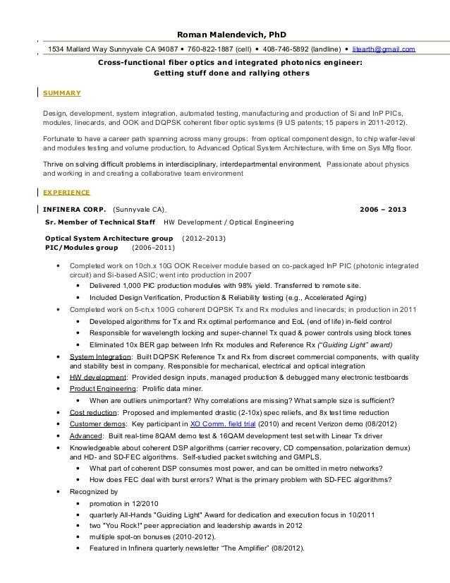 optical engineering resume
