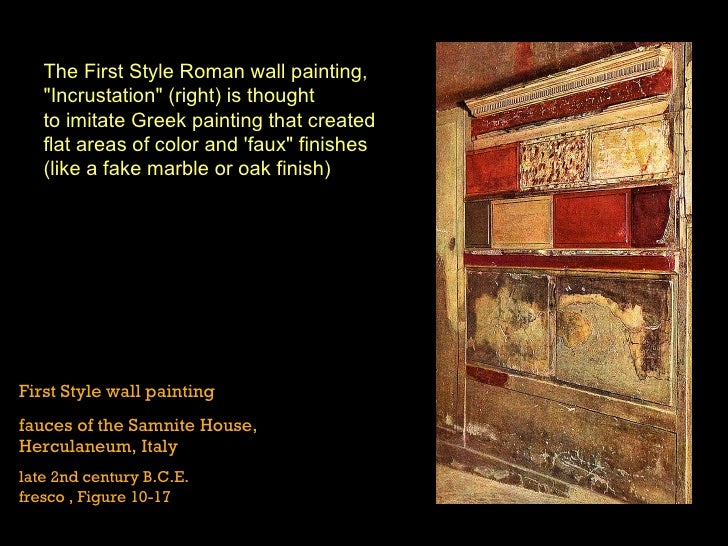 First Style Wall Painting In The Fauces Of The Samnite House Roman Art