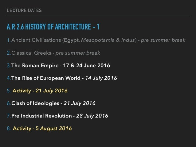 A.R 2.6 HISTORY OF ARCHITECTURE - 1 1.Ancient Civilisations (Egypt, Mesopotamia & Indus) - pre summer break 2.Classical Gr...