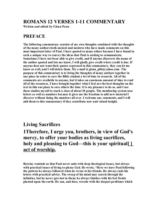 Romans 12 verses 1 11 commentary roma s 12 verses 1 11 comme tary written and edited by glenn pease preface sciox Gallery