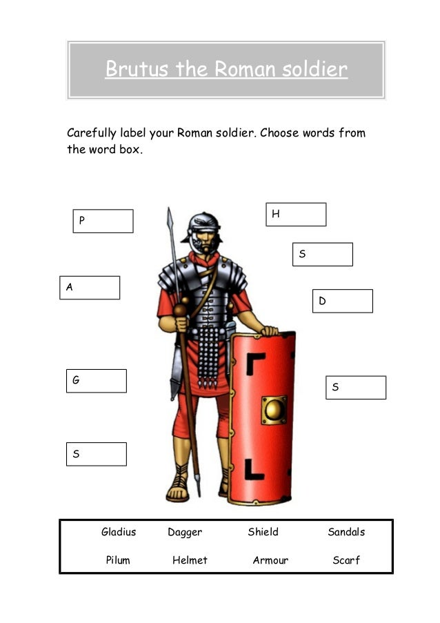 Carefully label your Roman soldier. Choose words from the word box. Brutus the Roman soldier Gladius Dagger Shield Sandals...