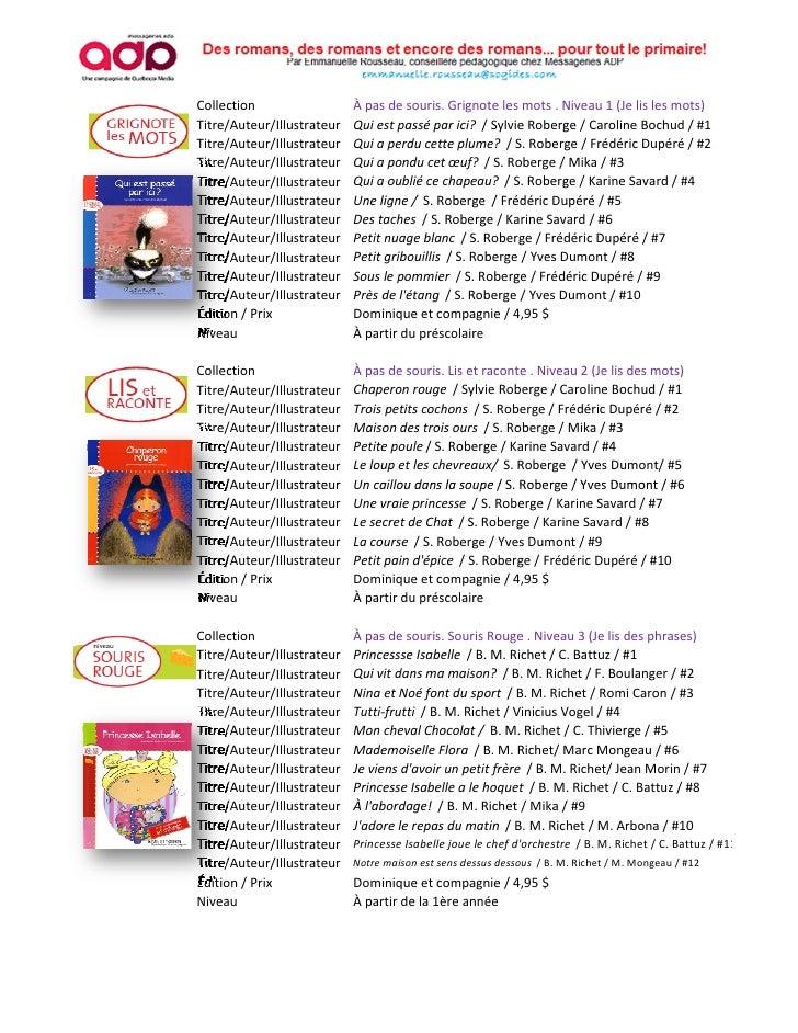 Collection                  À pas de souris. Grignote les mots . Niveau 1 (Je lis les mots)Titre/Auteur/Illustrateur   Qui...