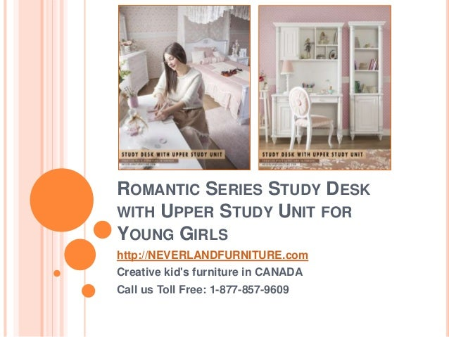 romantic series study desk with upper study unit for girls in canada
