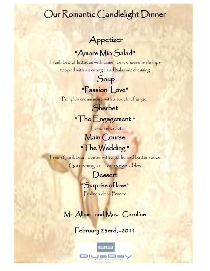 Romantic candle light dinner menu