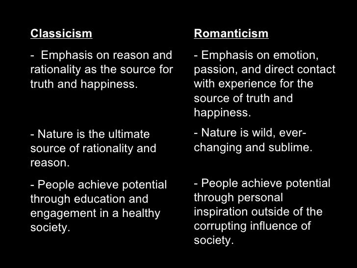 romanticism versus neoclassicism And resources unit lesson plans relation to standards one computer  versus many  lesson one: introduction to neoclassicism and romanticism.