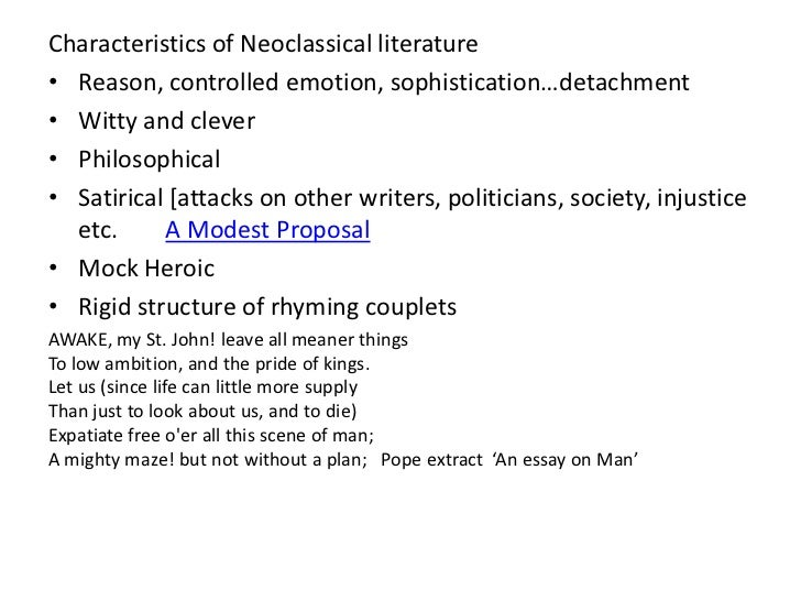 Essay on man neoclassicism