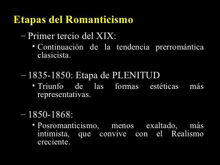 Etapas del Romanticismo <ul><ul><li>Primer tercio del XIX:  </li></ul></ul><ul><ul><ul><li>Continuación de la tendencia pr...