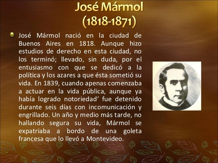 Romanticismo y literatura gauchesca for Marmol informacion