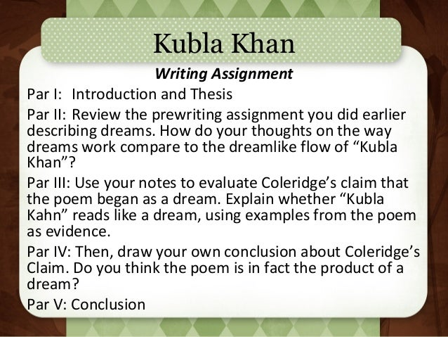 kubla khan poem thesis Dr seamus perry considers the composition and publication history of kubla khan, and explores how coleridge transforms language into both image and music coleridge's famous and mysterious poem was written, probably, in the autumn of 1797 according to a note written at the bottom of the one .