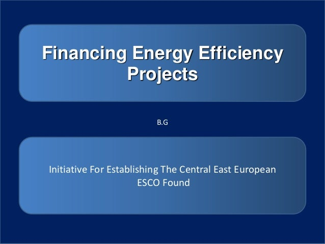 Financing Energy Efficiency         Projects                         B.GInitiative For Establishing The Central East Europ...