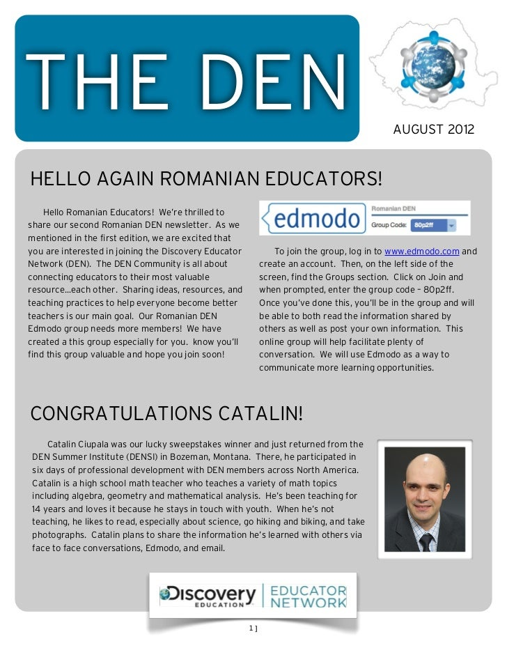 THE DEN                                                                                      AUGUST 2012HELLO AGAIN ROMANI...