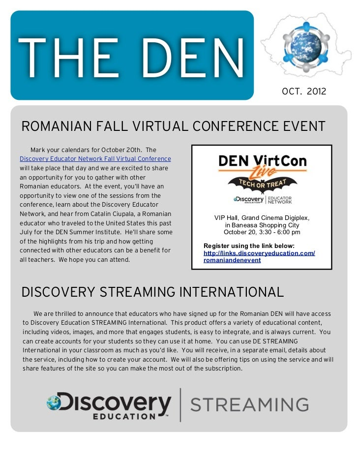 THE DEN                                                                                    OCT. 2012ROMANIAN FALL VIRTUAL ...