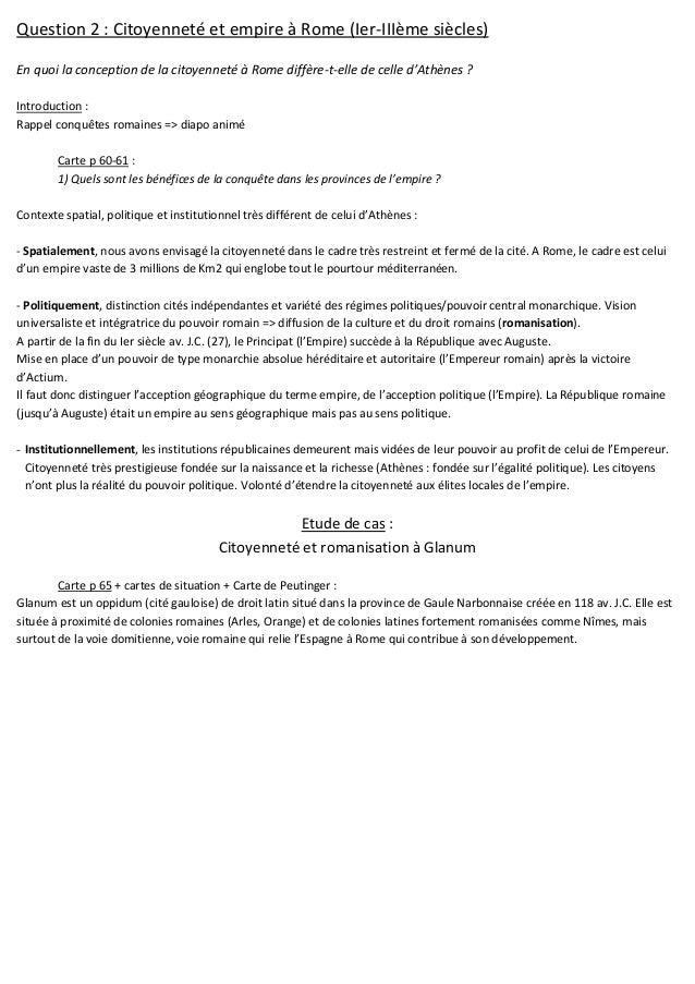 Question 2 : Citoyenneté et empire à Rome (Ier-IIIème siècles) En quoi la conception de la citoyenneté à Rome diffère-t-el...