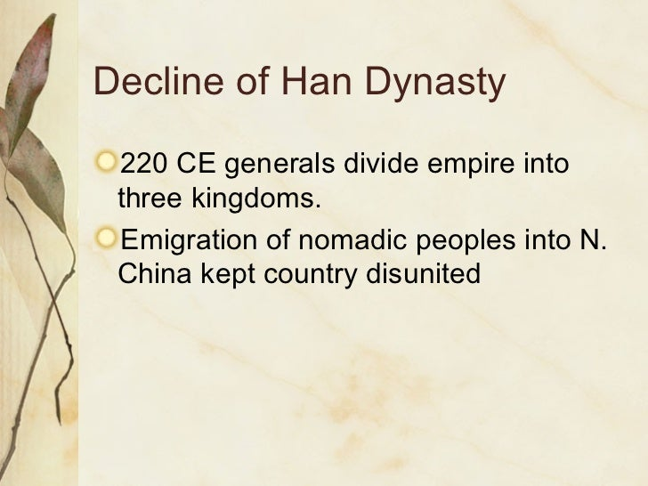 "comparison between han dynasty in china - han dynasty: 60 million people, - also about 60 million people but virtually all were in ""inner china"" only a few of these million in italy ˇ ˇ ˘ - although confucian china spoke of a - imperial rome knew of its actual, mythological golden age of equality historical republican past and always."