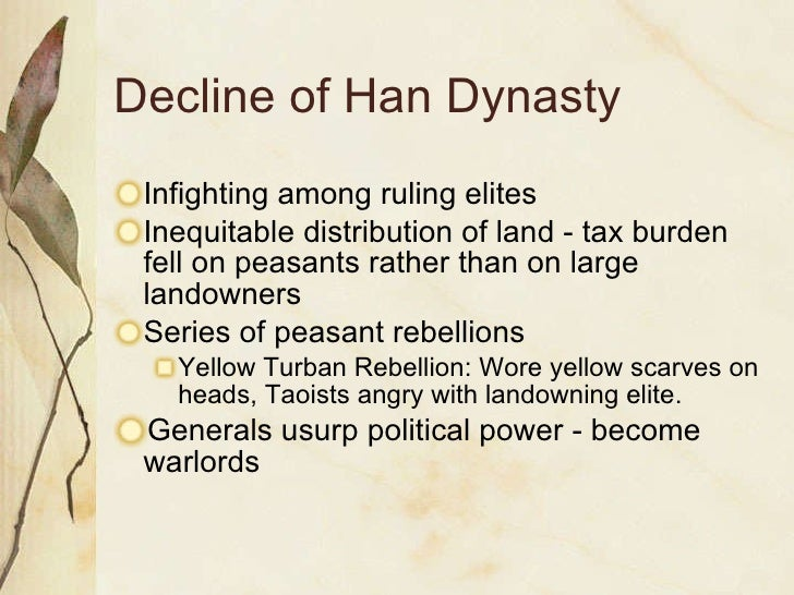 collapse of rome and han The eventual decline of the dynasty also began with emperor wu's policy of selling who was trusted by the people in 25, liu xiu reestablished the han dynasty (now called eastern han) and made luo yang the capital city diplomatic missions and trade were established with ancient rome.
