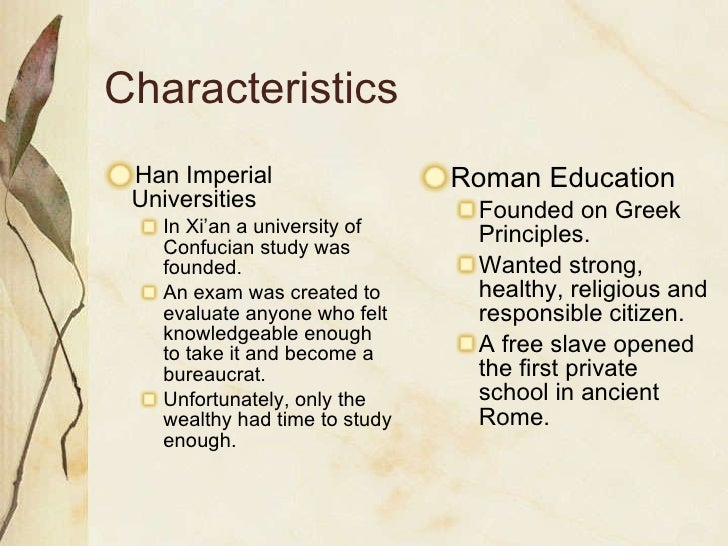 The differences and similarities between the han china empire and the imperial rome imperial governm
