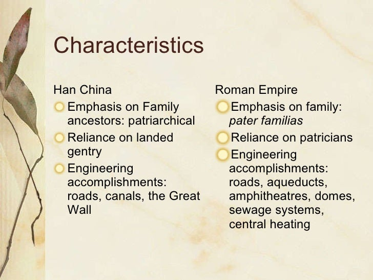 comparative essay imperial rome han Imperial rome and han china are both well recognized empires, known as strong and fairly successful although the empires had some differences they also had similarities in their methods of political control similarities between these empires include the belief that leaders had connections to.