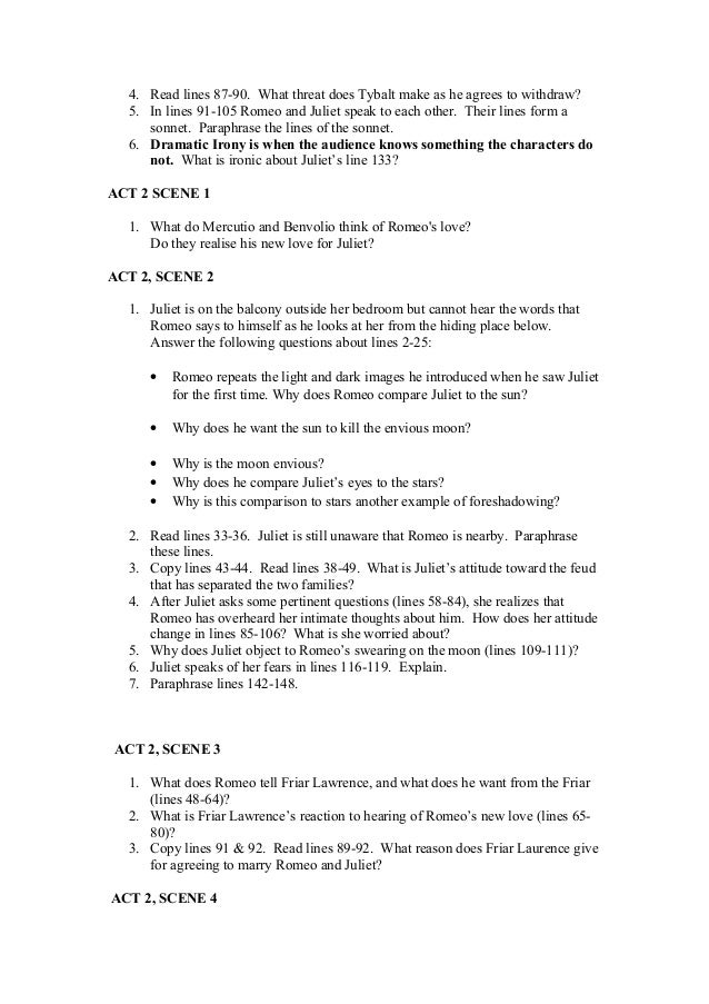 romeo and juliet final exam essay questions Know events of the play—study your notes and the answers to the various questions asked for each act long essay: romeo and juliet final exam study guide.