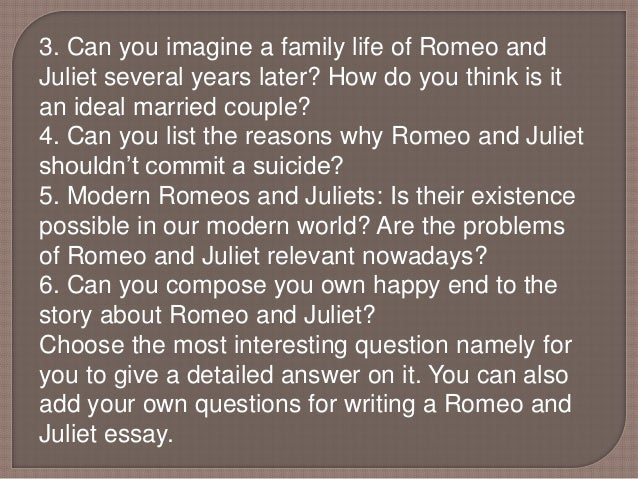 essay titles for romeo and juliet