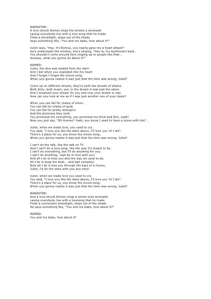 Lyric song lyrics to say i love you : Romeo and juliet lyrics