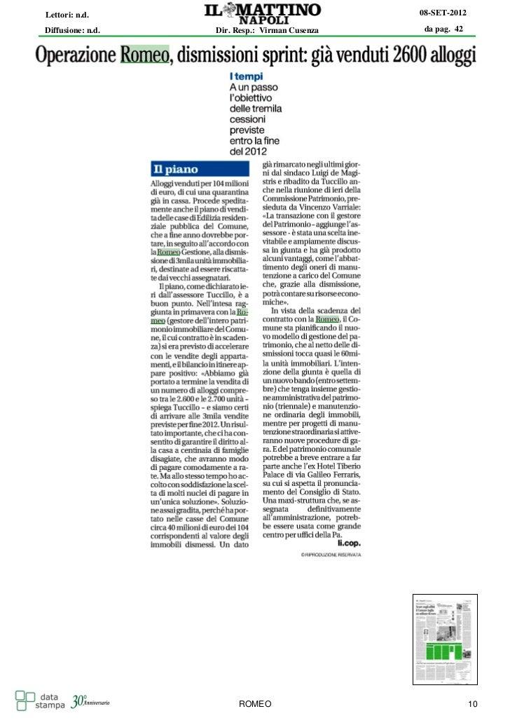 Lettori: n.d.                                   08-SET-2012Diffusione: n.d.   Dir. Resp.: Virman Cusenza    da pag. 42    ...