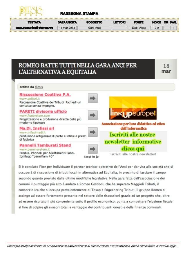 RASSEGNA STAMPA                 TESTATA                 DATA USCITA             SOGGETTO              LETTORI          FON...