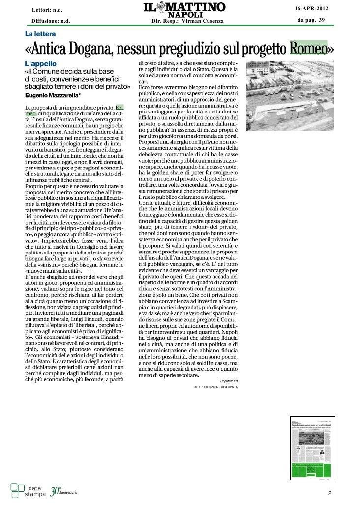 Lettori: n.d.                                   16-APR-2012Diffusione: n.d.   Dir. Resp.: Virman Cusenza   da pag. 39     ...