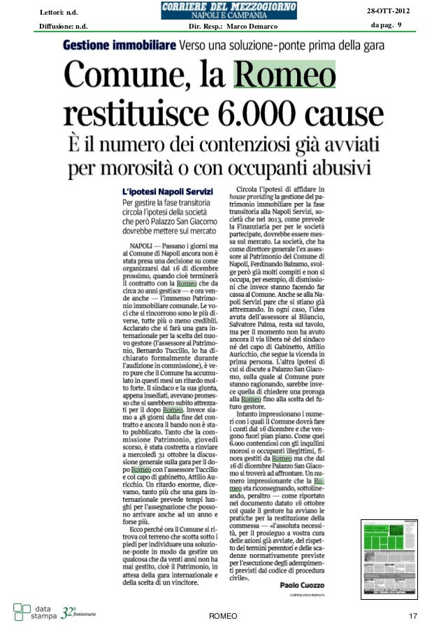 Lettori: n.d.                                  28-OTT-2012Diffusione: n.d.   Dir. Resp.: Marco Demarco   da pag. 9        ...