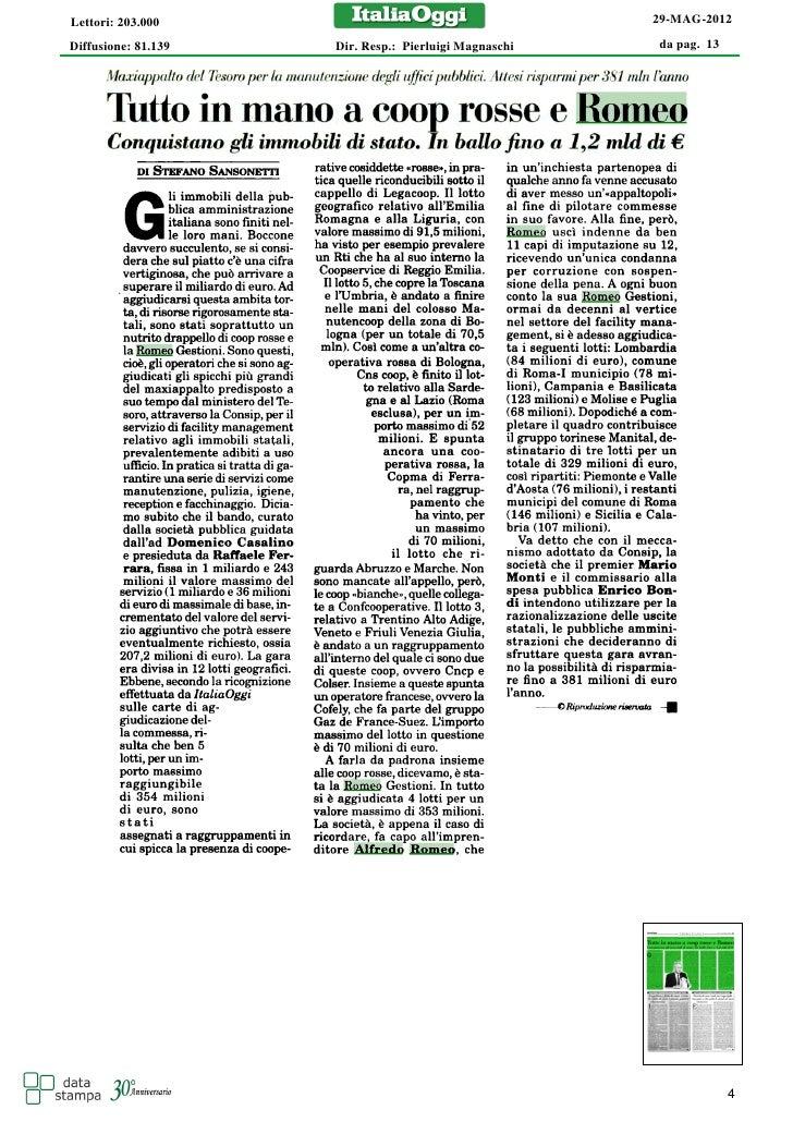 Lettori: 203.000                                       29-MAG-2012Diffusione: 81.139   Dir. Resp.: Pierluigi Magnaschi   d...