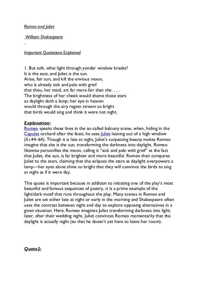 Romeo & juliet important quotes explained