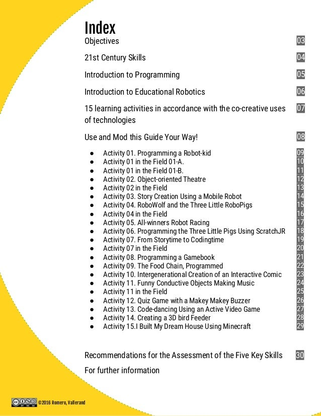 Index Objectives 21st Century Skills Introduction to Programming Introduction to Educational Robotics 15 learning activiti...