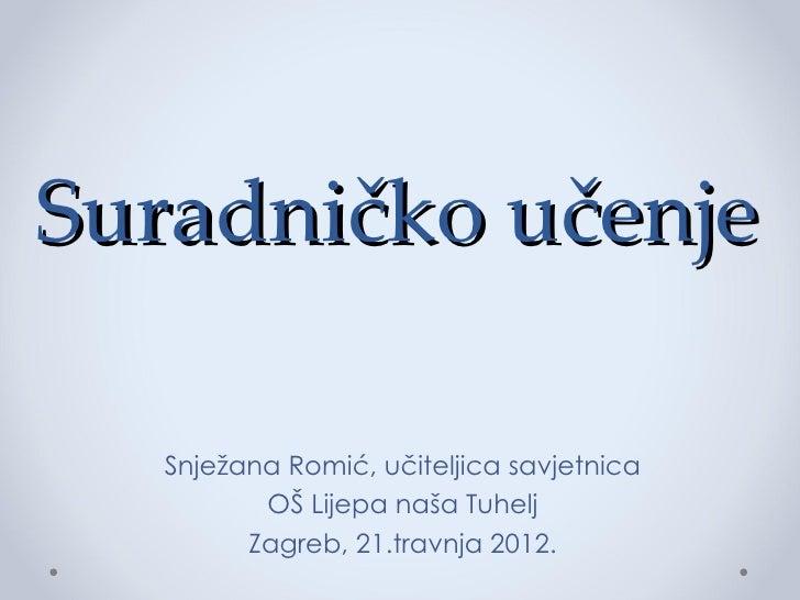 Suradničko učenje   Snježana Romić, učiteljica savjetnica          OŠ Lijepa naša Tuhelj         Zagreb, 21.travnja 2012.