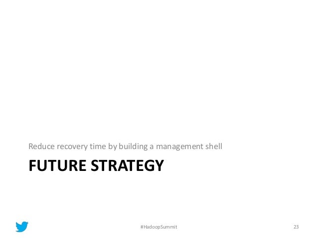FUTURE STRATEGY Reduce recovery time by building a management shell 23#HadoopSummit