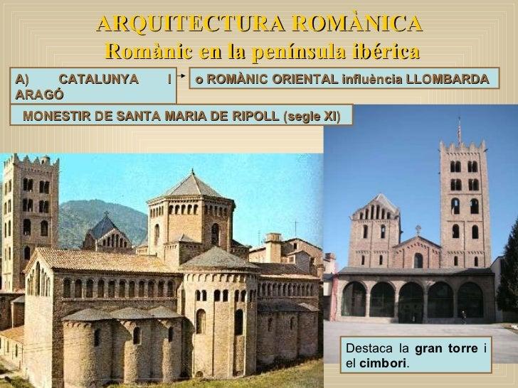 ARQUITECTURA ROMÀNICA Romànic en la península ibérica A) CATALUNYA I ARAGÓ o ROMÀNIC ORIENTAL influència LLOMBARDA Destaca...
