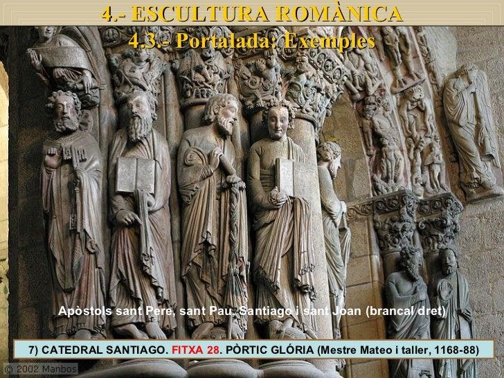 7) CATEDRAL SANTIAGO.  FITXA 28 . PÒRTIC GLÓRIA (Mestre Mateo i taller, 1168-88) 4.- ESCULTURA ROMÀNICA 4.3.- Portalada: E...