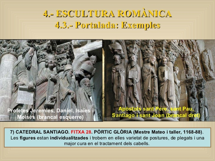 7) CATEDRAL SANTIAGO.  FITXA 28 . PÒRTIC GLÓRIA (Mestre Mateo i taller, 1168-88) .  Les  figures  estan  individualitzades...