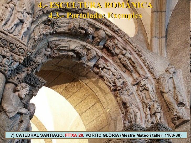 4.- ESCULTURA ROMÀNICA 4.3.- Portalada: Exemples 7) CATEDRAL SANTIAGO.  FITXA 28 . PÒRTIC GLÓRIA (Mestre Mateo i taller, 1...