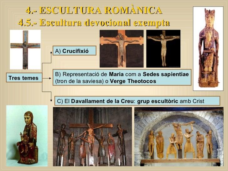 4.- ESCULTURA ROMÀNICA 4.5.- Escultura devocional exempta Tres temes A)  Crucifixió B) Representació de  Maria  com a  Sed...