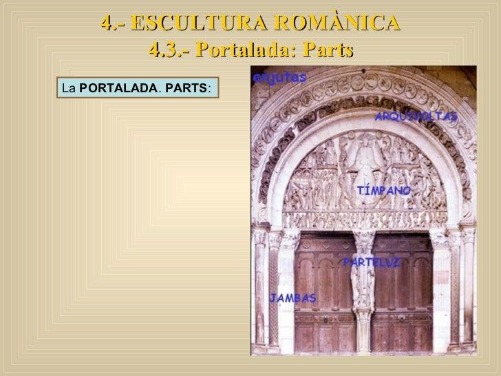 4.- ESCULTURA ROMÀNICA 4.3.- Portalada: Parts La  PORTALADA .  PARTS :