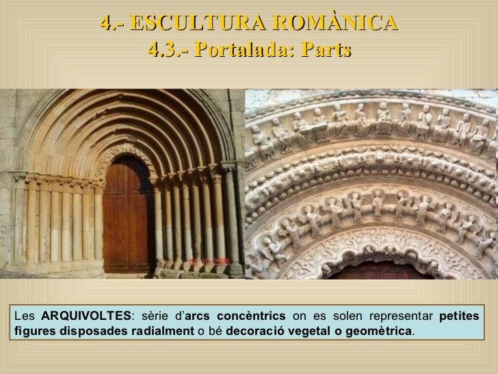 4.- ESCULTURA ROMÀNICA 4.3.- Portalada: Parts Les  ARQUIVOLTES : sèrie d' arcs concèntrics  on es solen representar  petit...