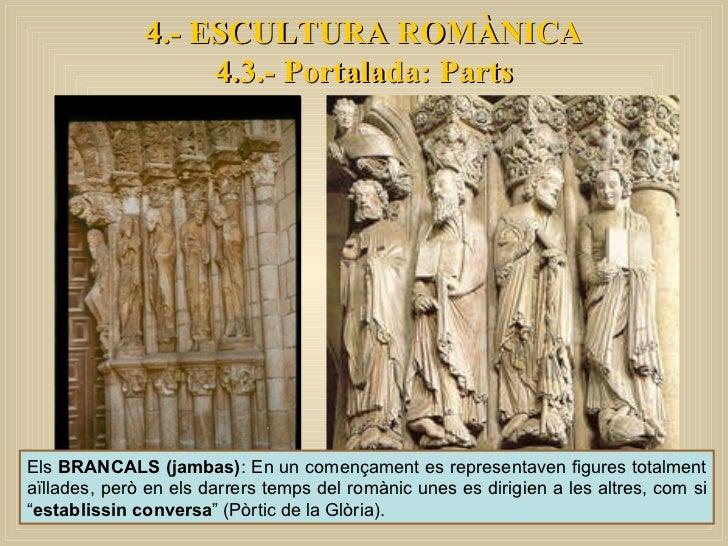 4.- ESCULTURA ROMÀNICA 4.3.- Portalada: Parts Els  BRANCALS (jambas) : En un començament es representaven figures totalmen...