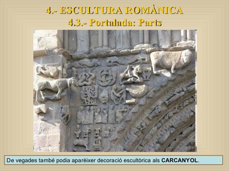 De vegades també podia aparèixer decoració escultòrica als  CARCANYOL . 4.- ESCULTURA ROMÀNICA 4.3.- Portalada: Parts