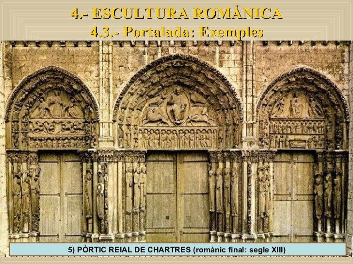 4.- ESCULTURA ROMÀNICA 4.3.- Portalada: Exemples 5) PÒRTIC REIAL DE CHARTRES (romànic final: segle XIII)