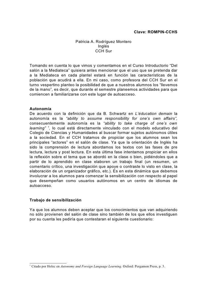 Clave: ROMPIN-CCHS                                   Patricia A. Rodríguez Montero                                        ...