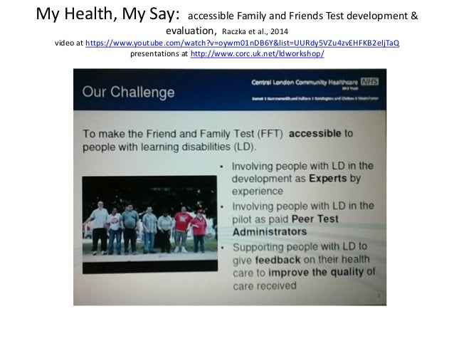 My Health, My Say: accessible Family and Friends Test ...