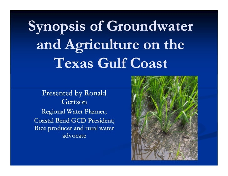 Synopsis of Groundwater and Agriculture on the   Texas Gulf Coast  Presented by Ronald        Gertson  Regional Water Plan...