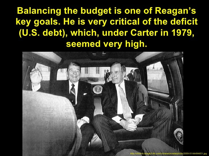 Balancing the budget is one of Reagan'skey goals. He is very critical of the deficit (U.S. debt), which, under Carter in 1...