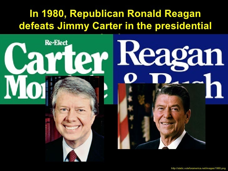 In 1980, Republican Ronald Reagandefeats Jimmy Carter in the presidential               election.                         ...